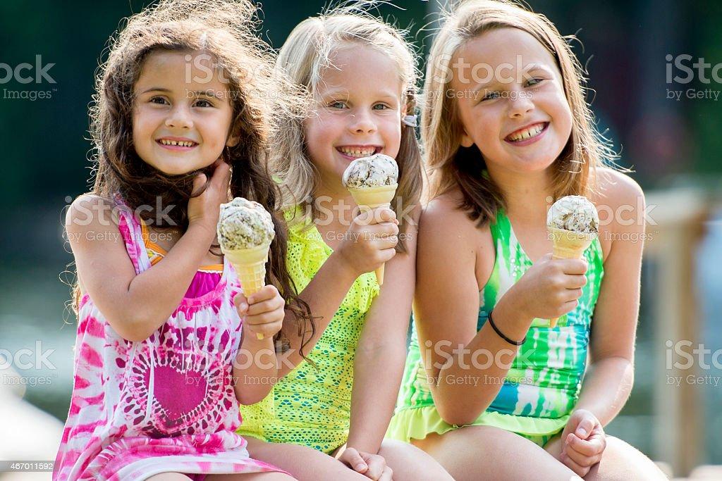 Children Eating Ice Cream stock photo