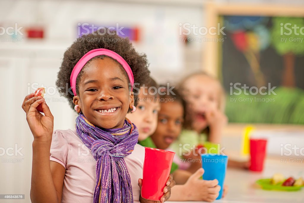Children Eating Lunch at School stock photo