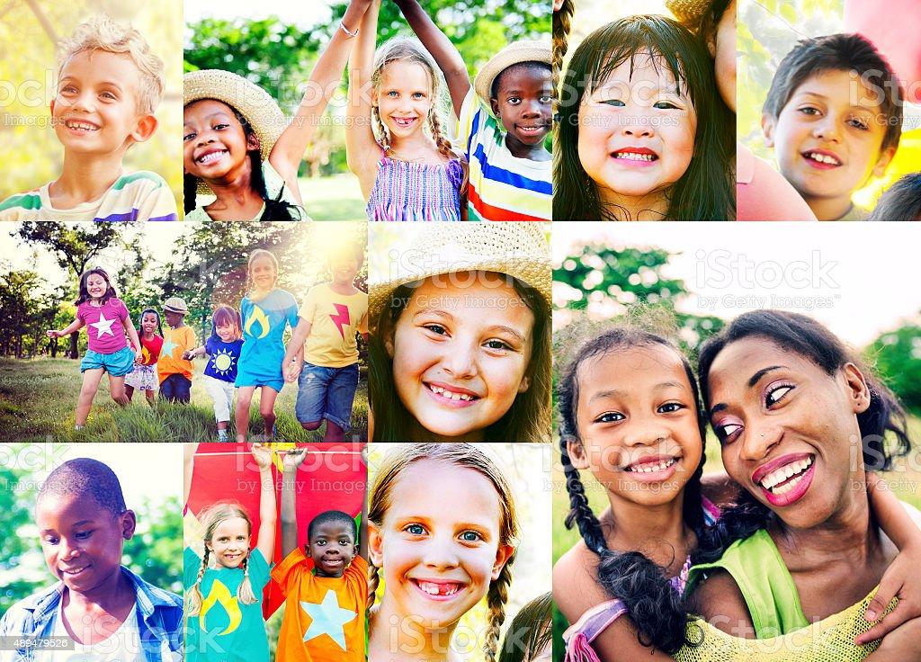 Children Family Enjoyment Playful Summer Casual Concept stock photo