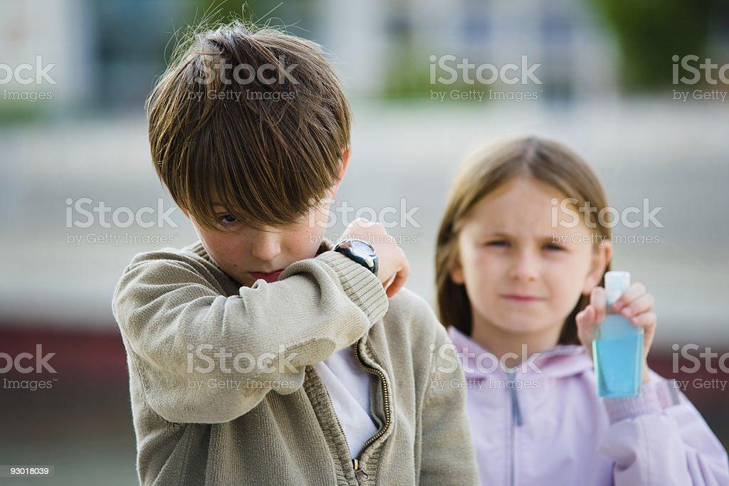 Children Flu Sneeze Elbow Sick royalty-free stock photo
