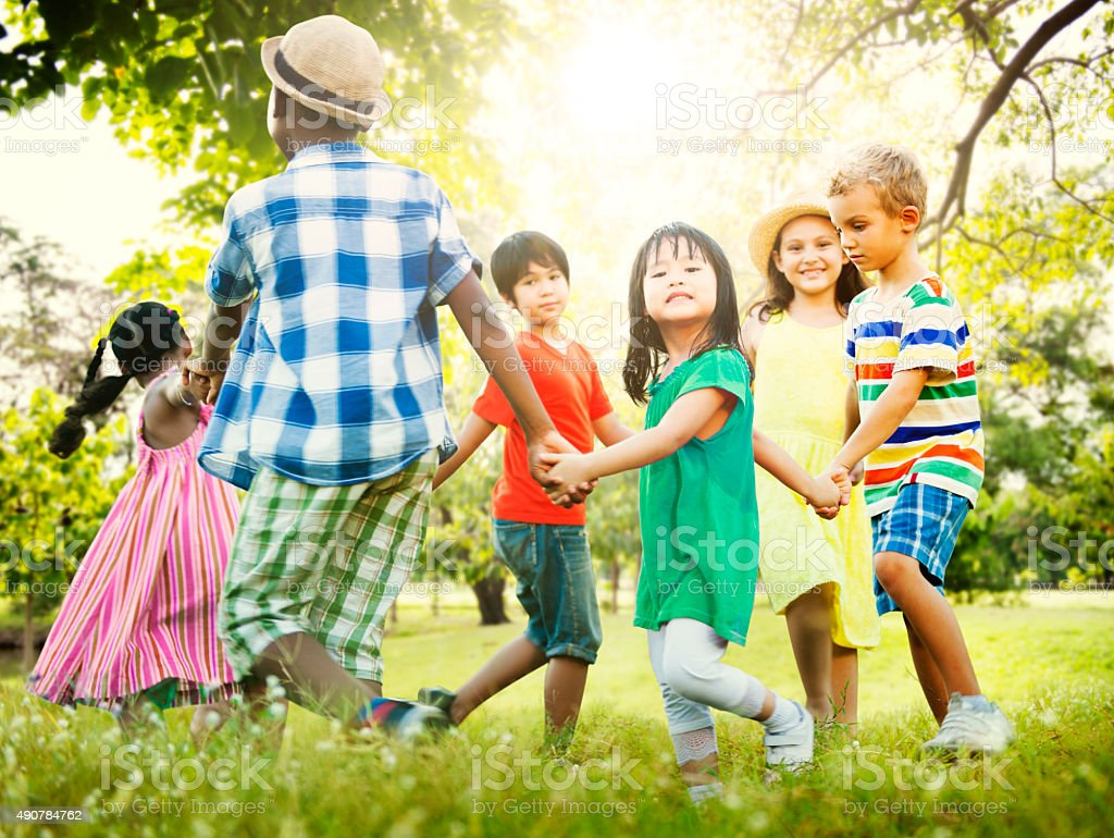 Children Friendship Togetherness Game Happiness Concept stock photo