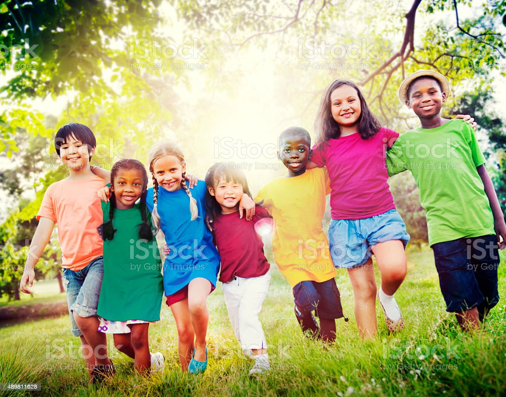 Children Friendship Togetherness Smiling Happiness Concept stock photo
