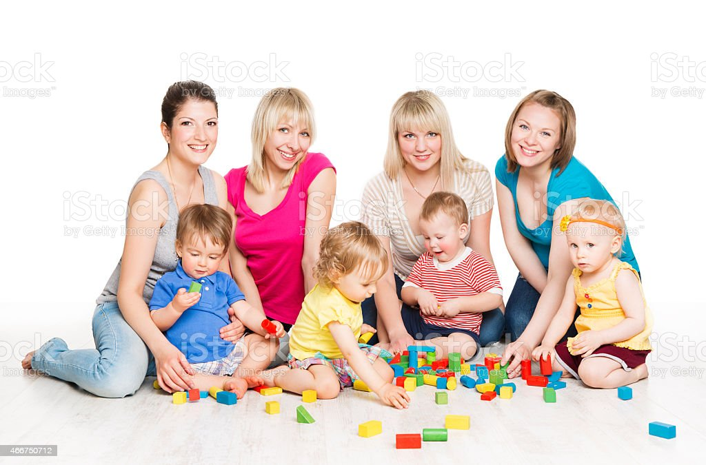 Children Group, Mothers Playing Toy Blocks. Little Kids, Active Baby stock photo