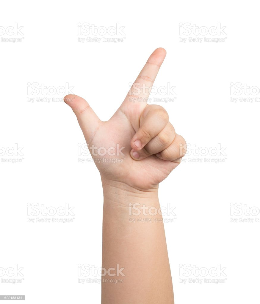 children hand touching or pointing to something stock photo