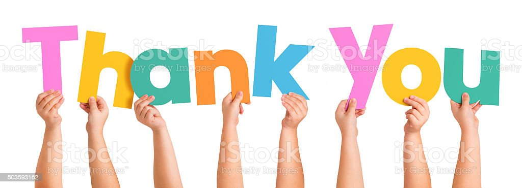 Children Hands holding the letters of the word THANK YOU stock photo
