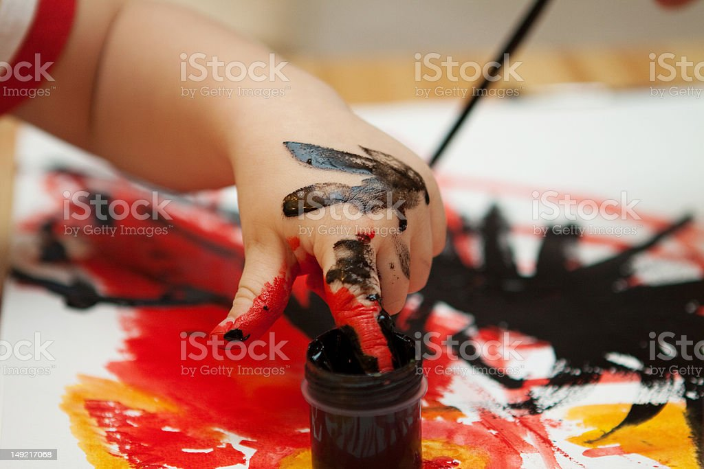 Children Happily Drawing royalty-free stock photo