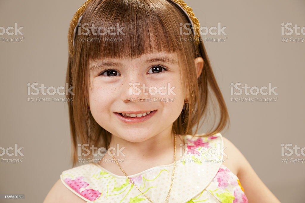 Children: Happy pre-school girl in sundress royalty-free stock photo