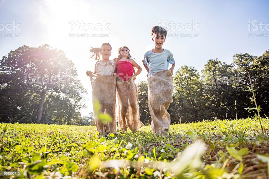 Children having a sack race. stock photo