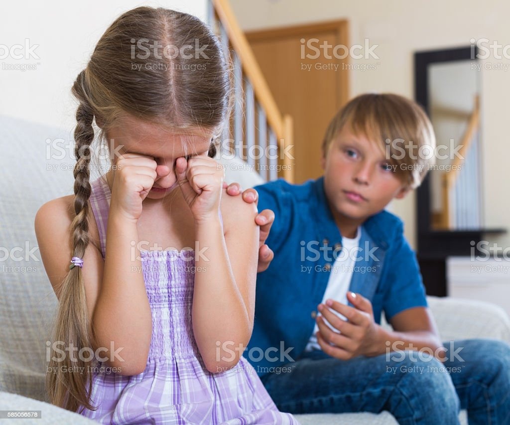 Children having conflict at home stock photo