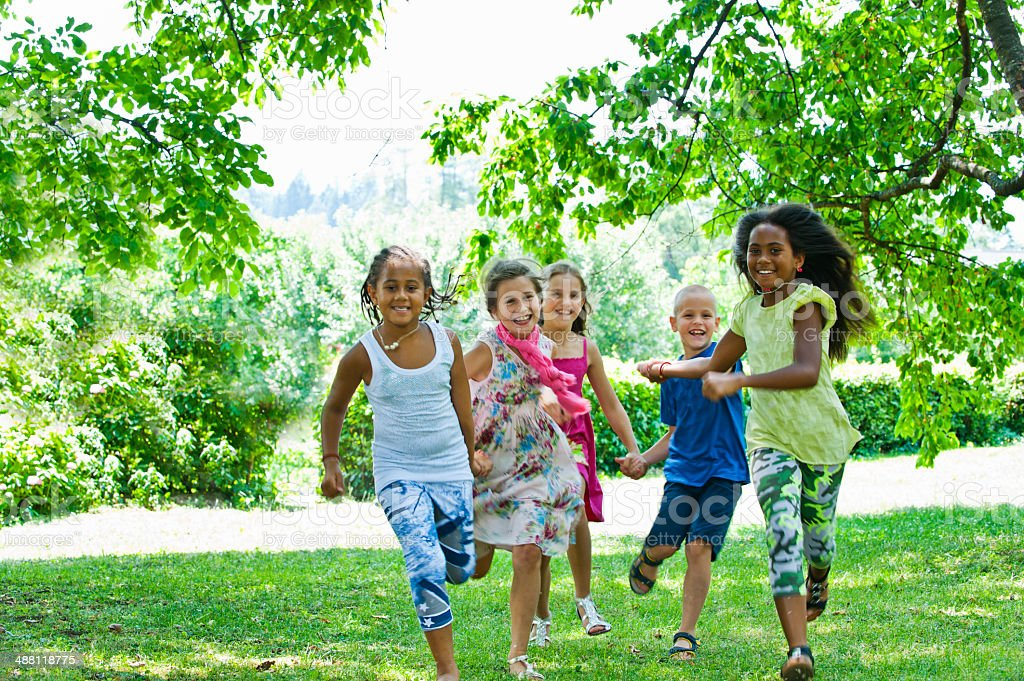 Children having fun stock photo