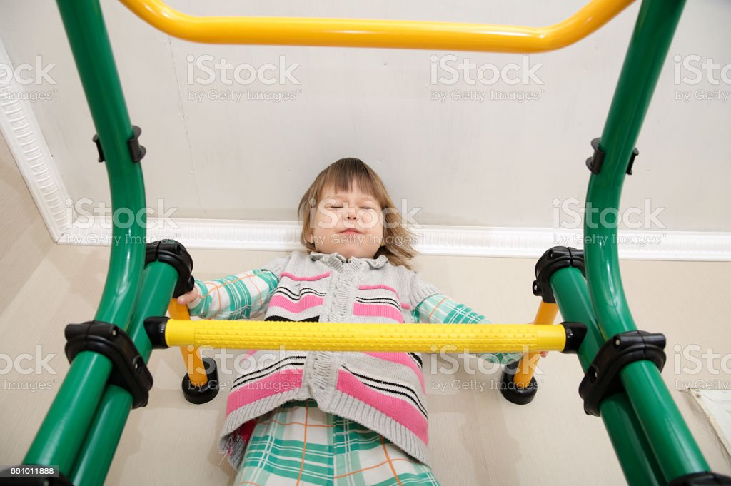Children home workout stock photo