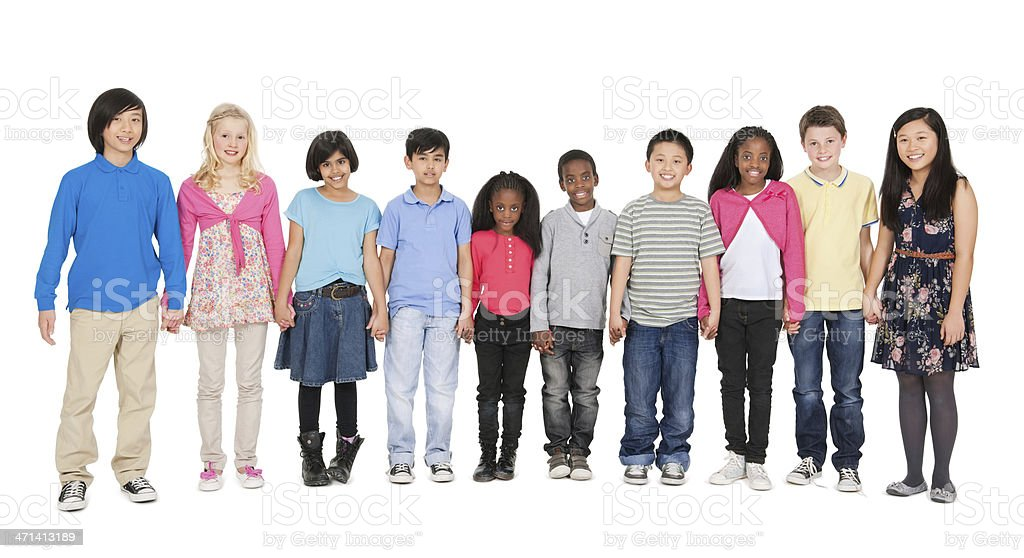 Children in a Row - Holding Hands stock photo
