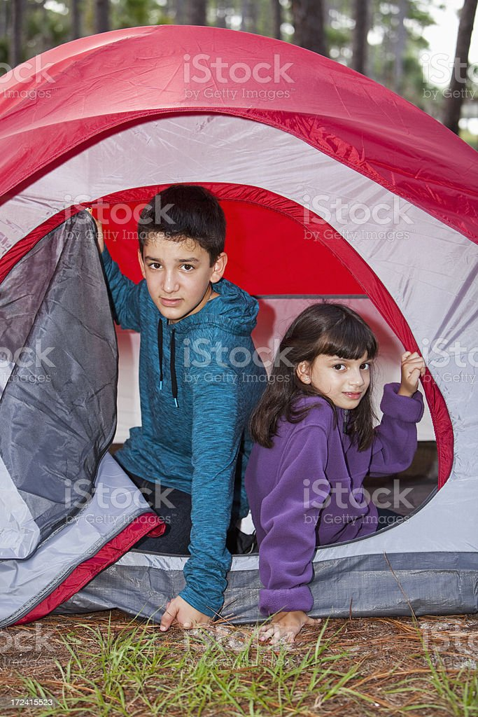 Children in a tent stock photo