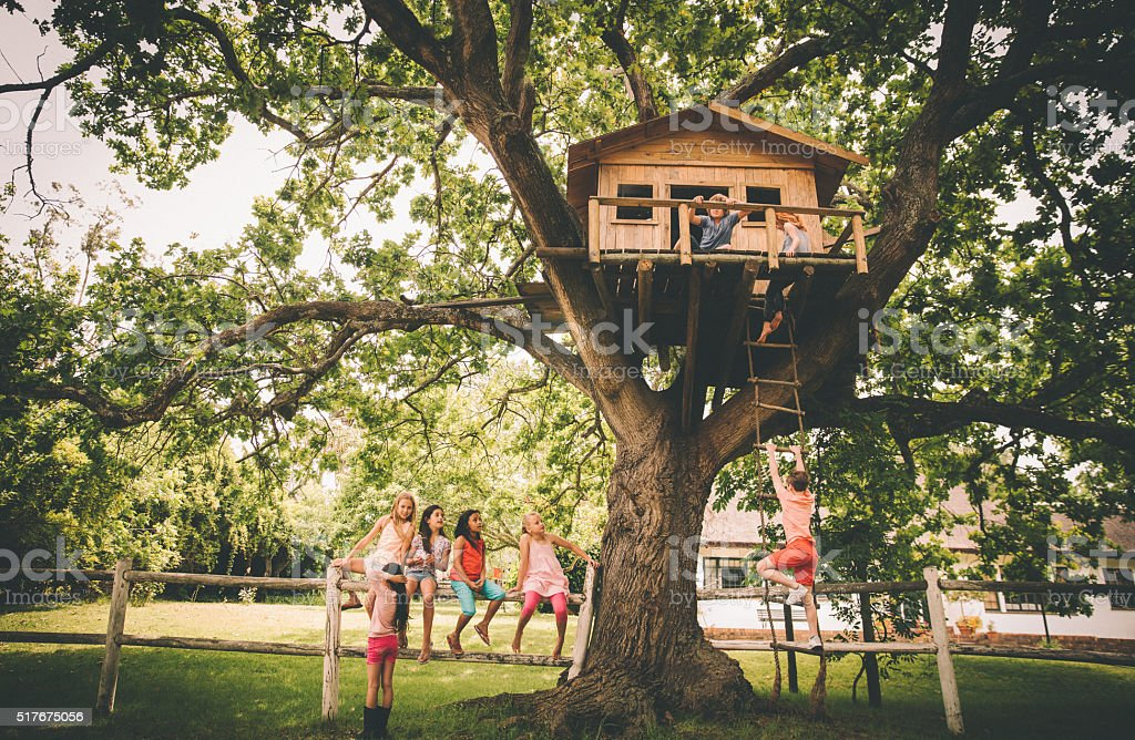 Children in a treehouse with boy climbing up rope ladder stock photo