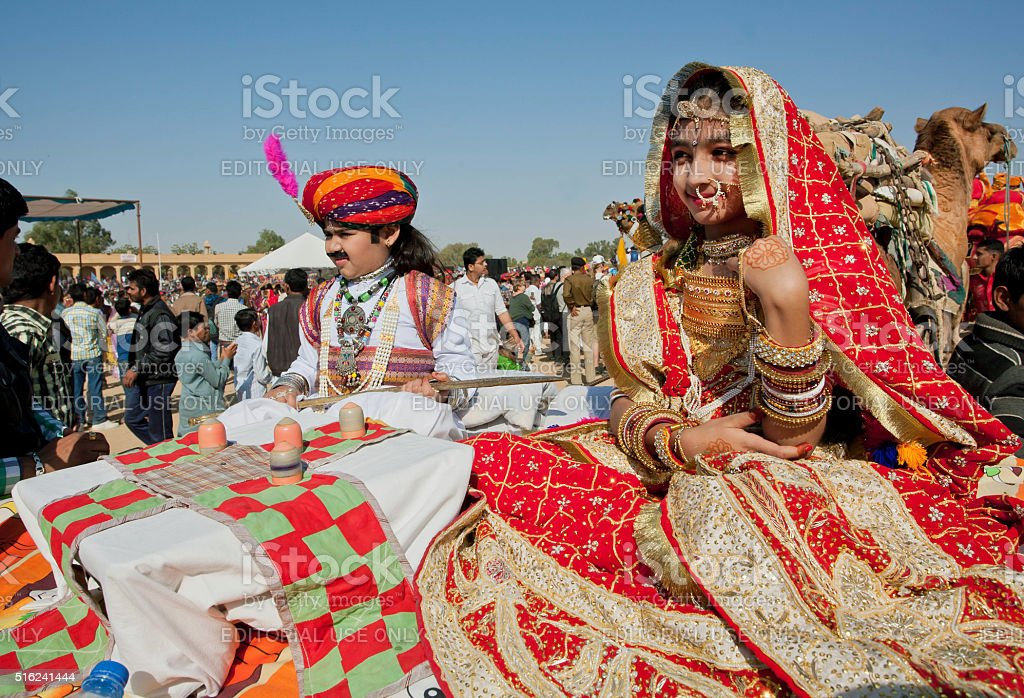 Children in beautiful indian costumes going to carnival stock photo