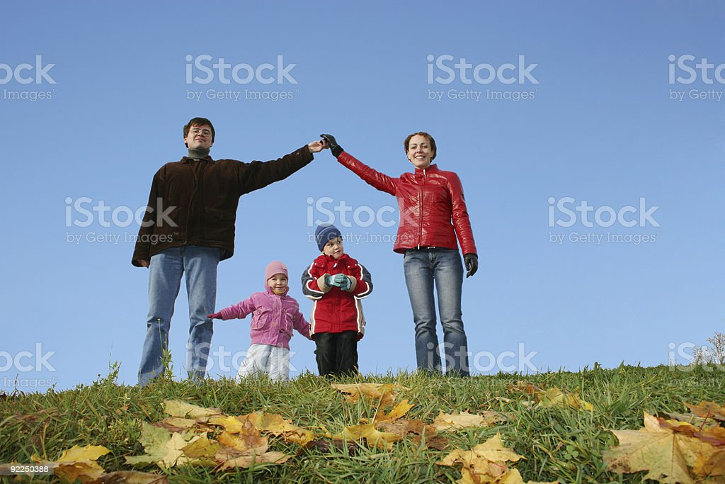 children in family house. autumn clear sky royalty-free stock photo