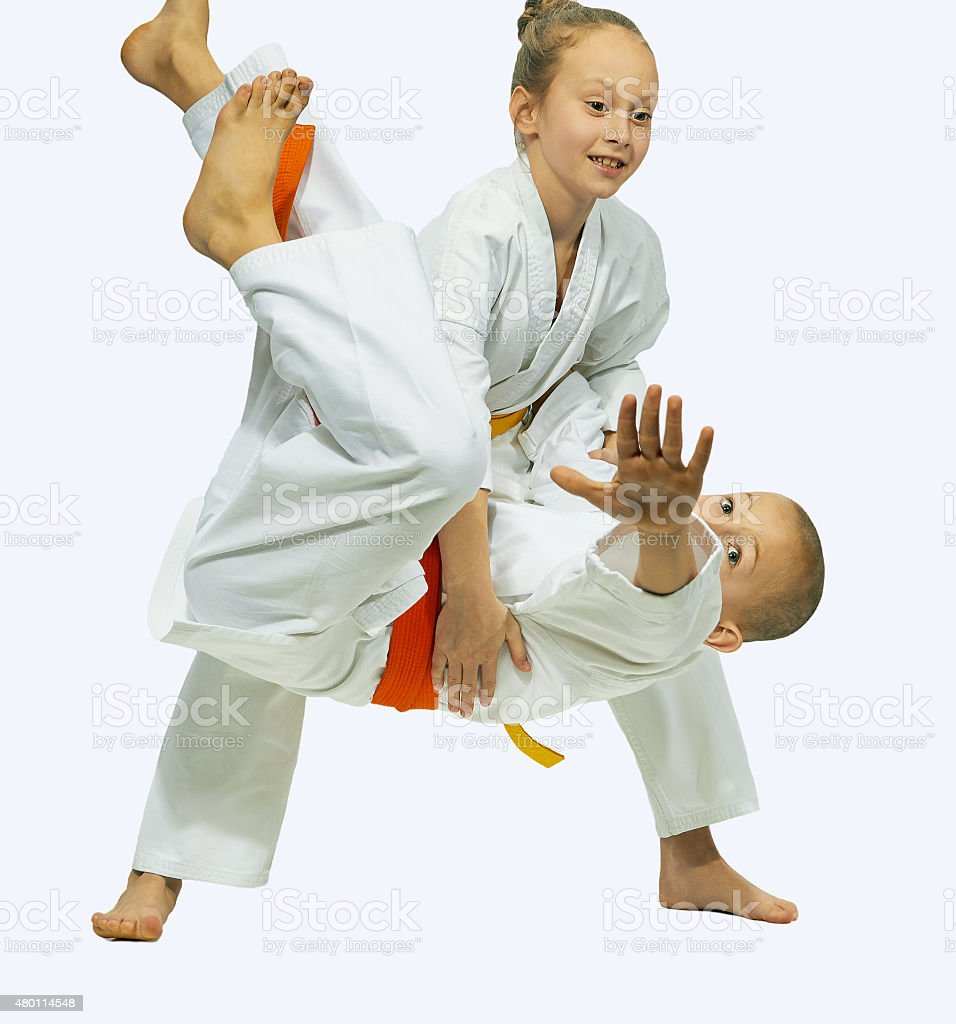 Children in karategi are trained judo throws stock photo