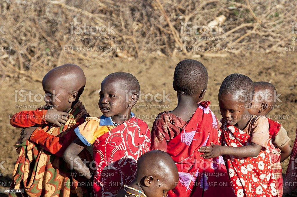Children in maasai village. stock photo