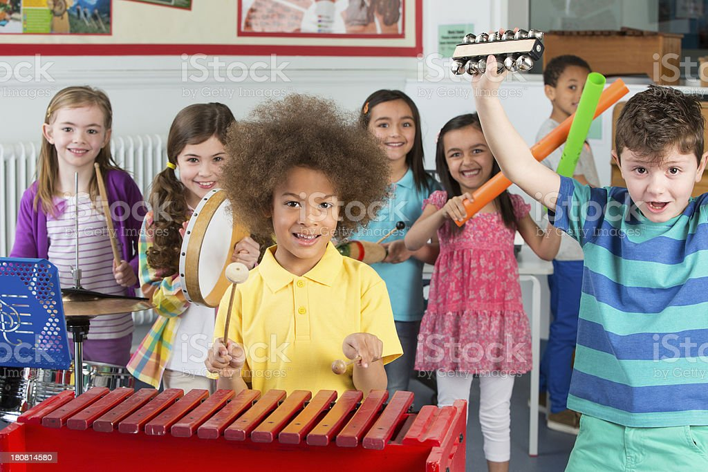 Children in Music Class stock photo
