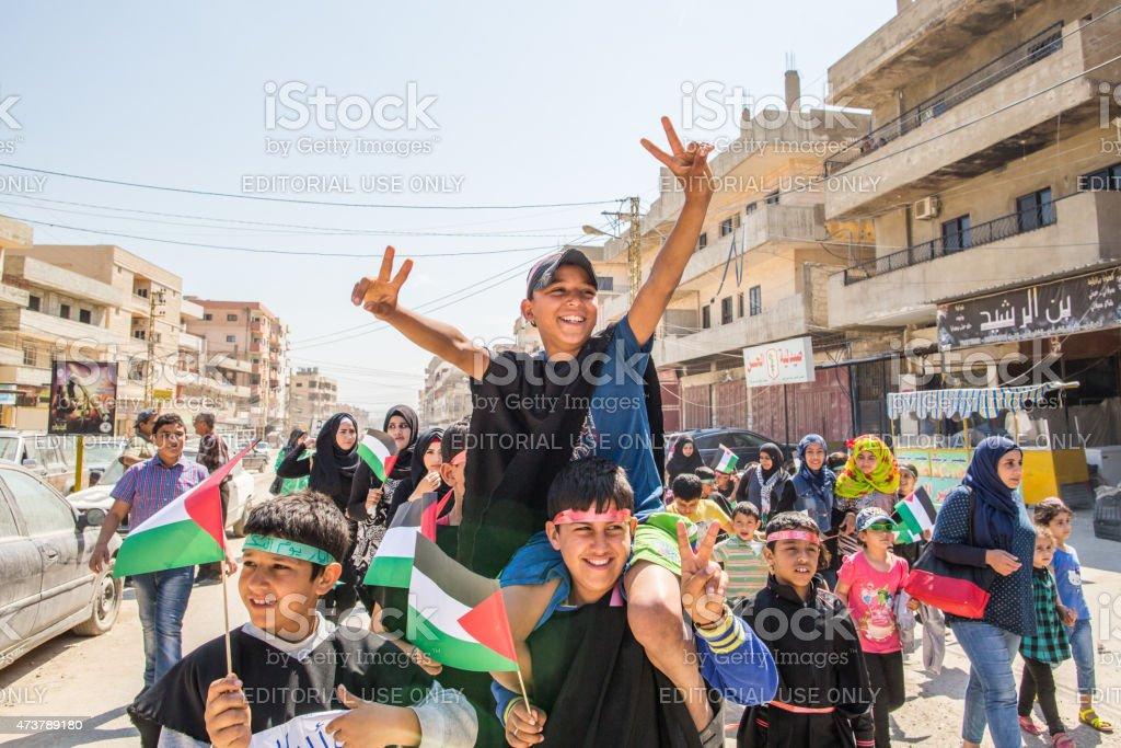 Children in Naher al Bared refugee camp stock photo