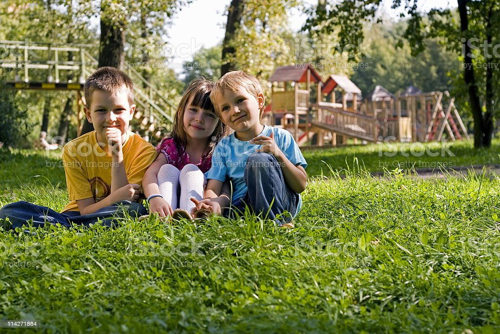 Children in park royalty-free stock photo