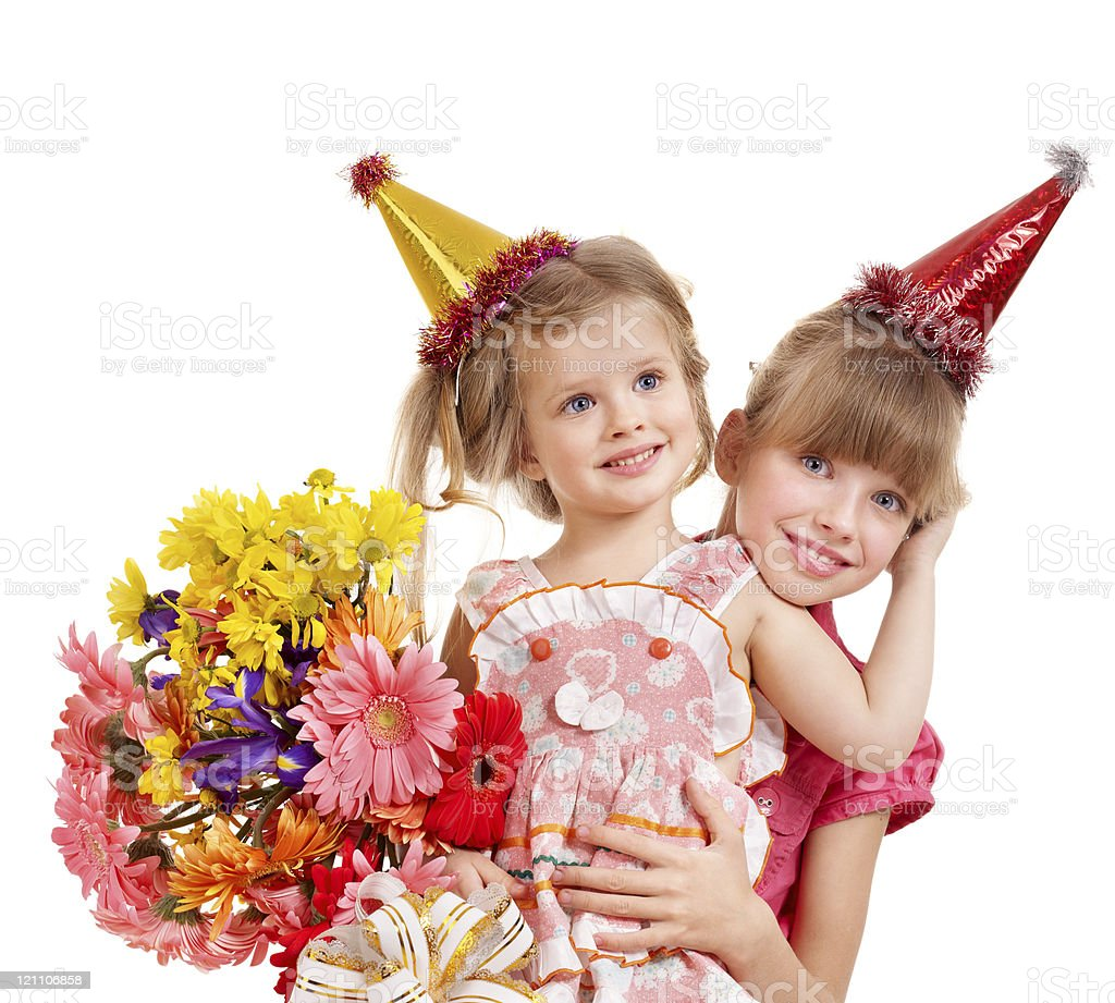 Children in party hat. royalty-free stock photo