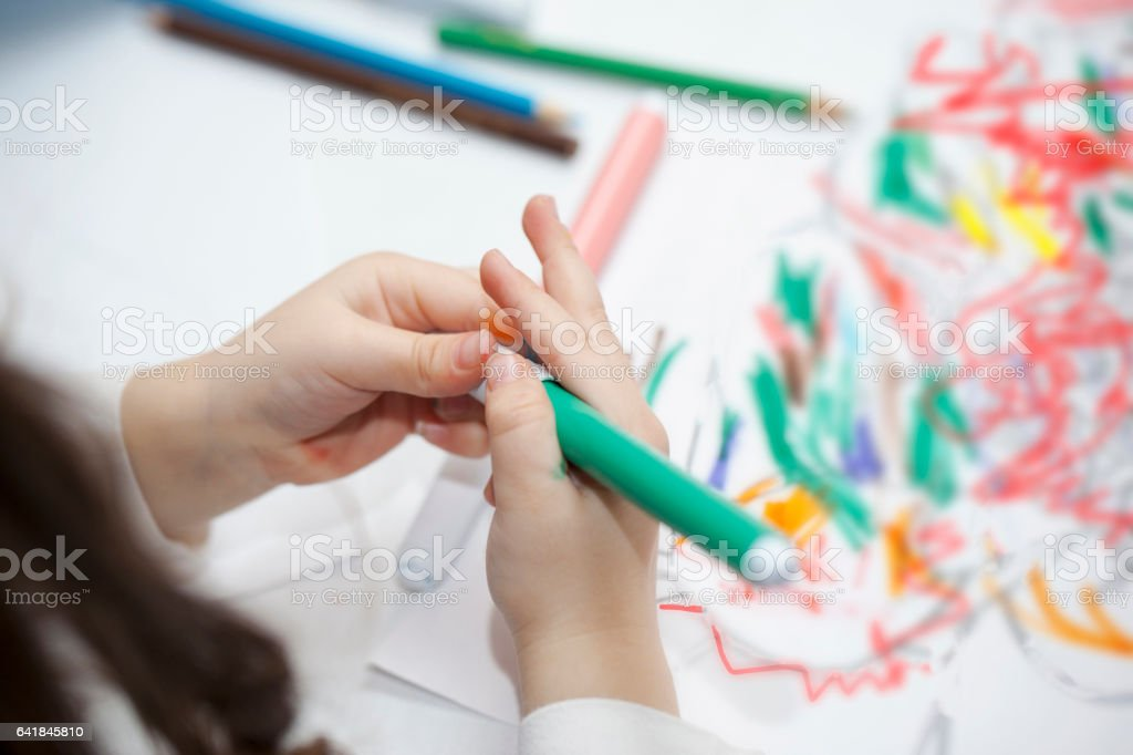 Children in pre-school workhsop - close up stock photo
