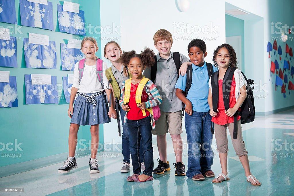 Children in school hallway royalty-free stock photo