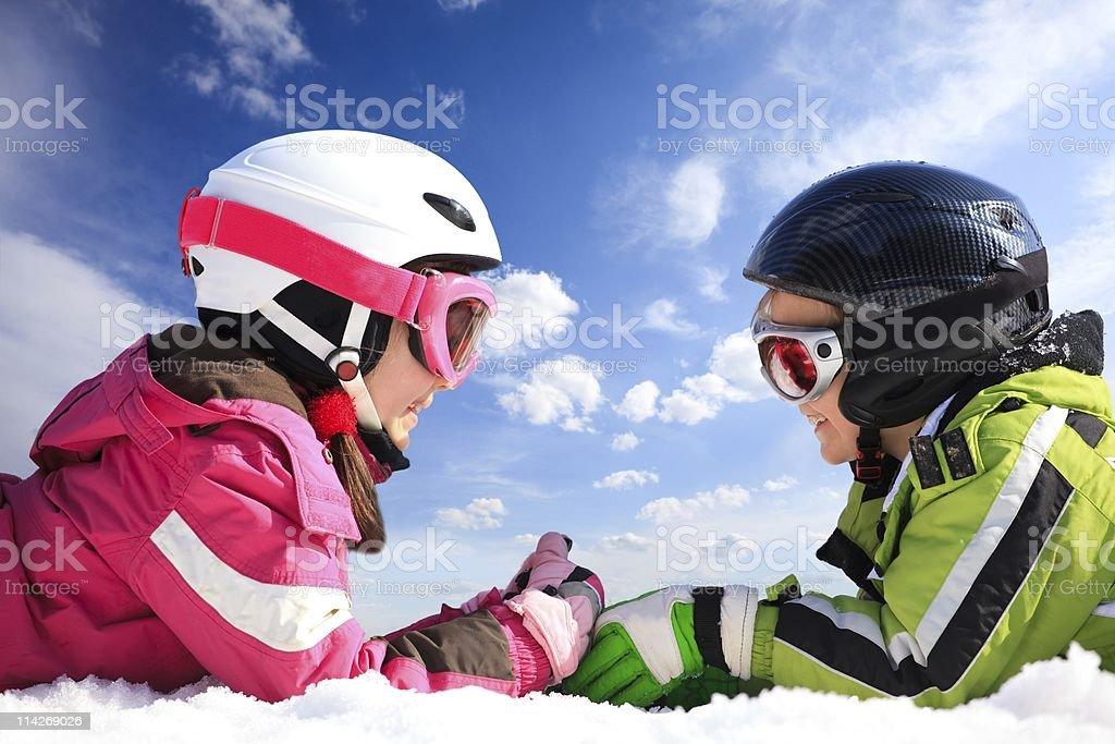 Children in ski wear royalty-free stock photo