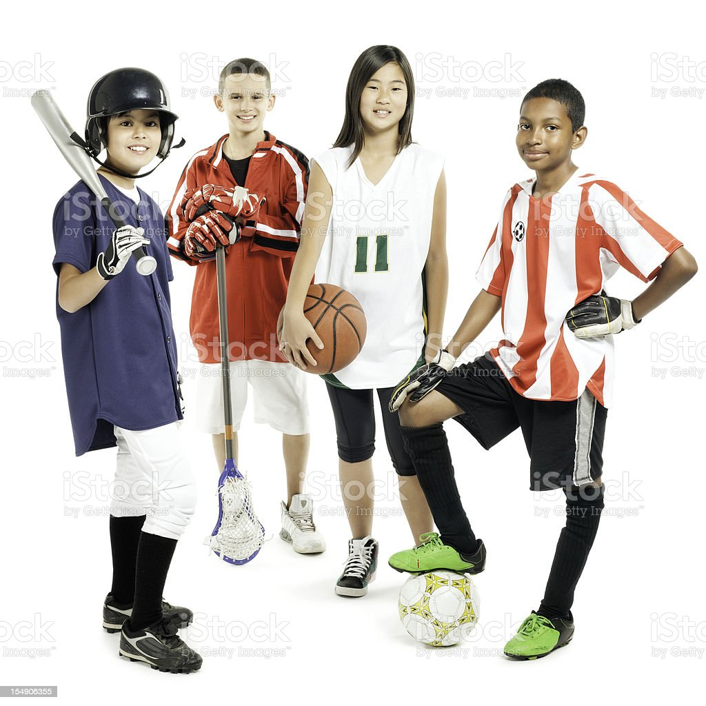 Children In Sports Attire - Isolated stock photo