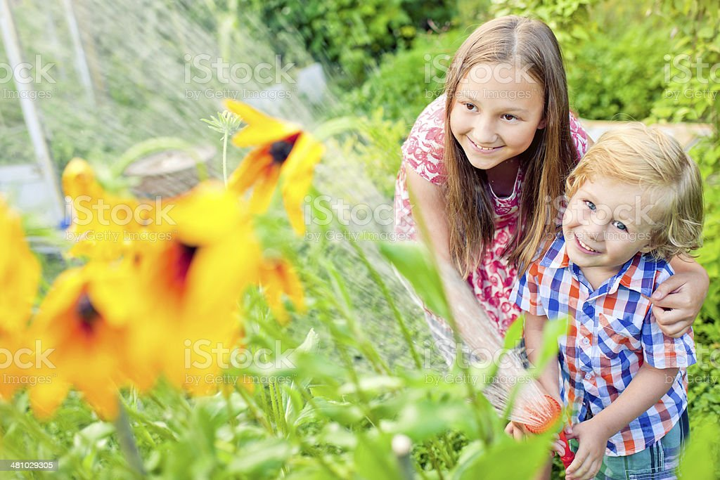 Children in the garden royalty-free stock photo