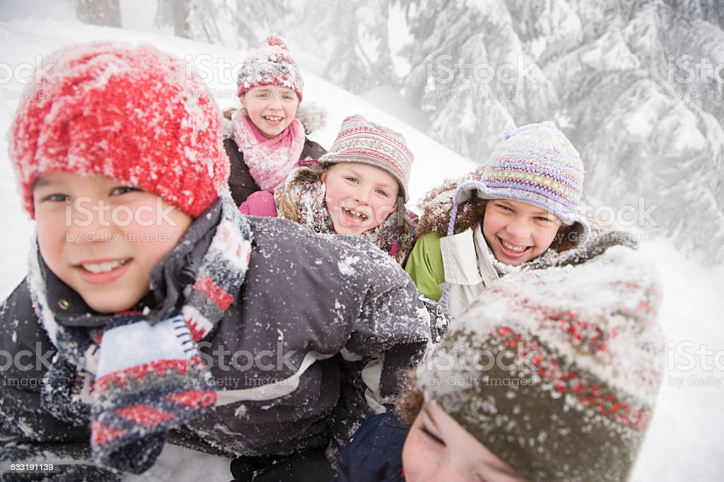 Children in the snow stock photo
