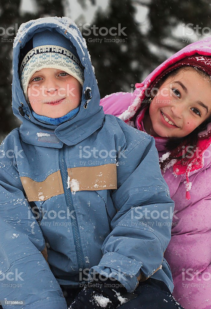 Children in winter royalty-free stock photo