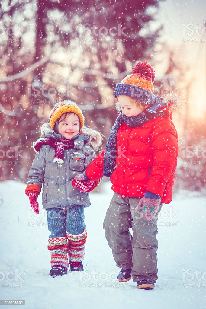 Children in winter stock photo