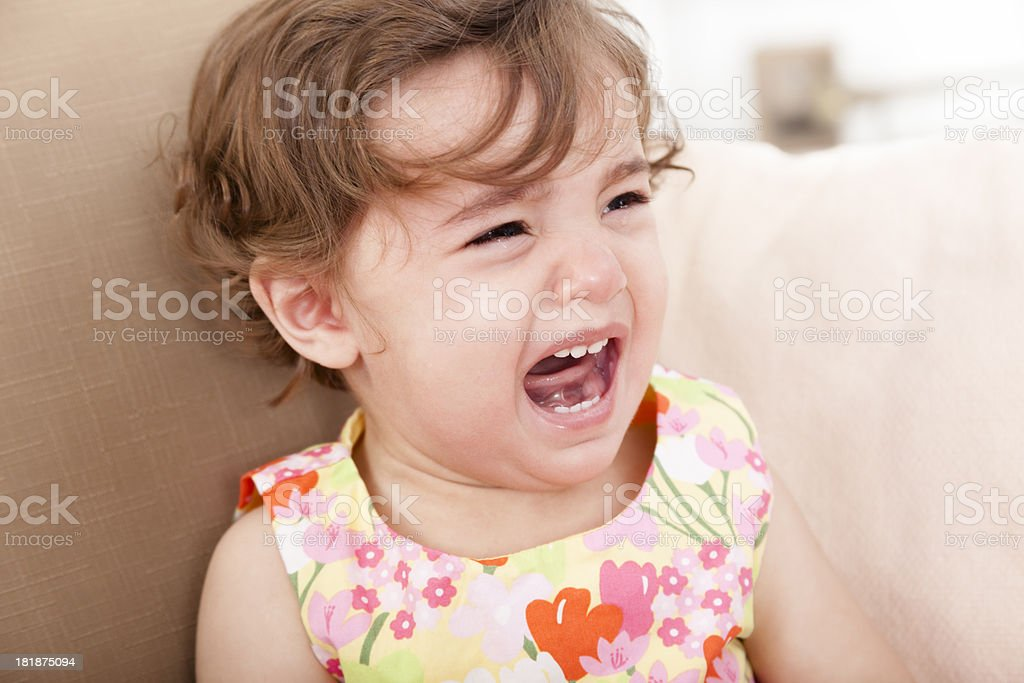 Children:  Indian Baby girl crying. royalty-free stock photo