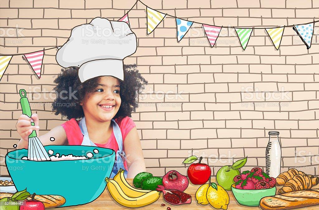 Children Kids Cooking Kitchen Fun Concept stock photo