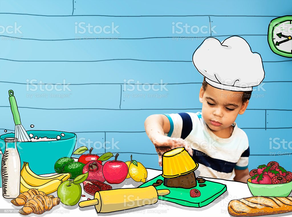 Children Kids Cooking Kitchen Fun Concept stock photo