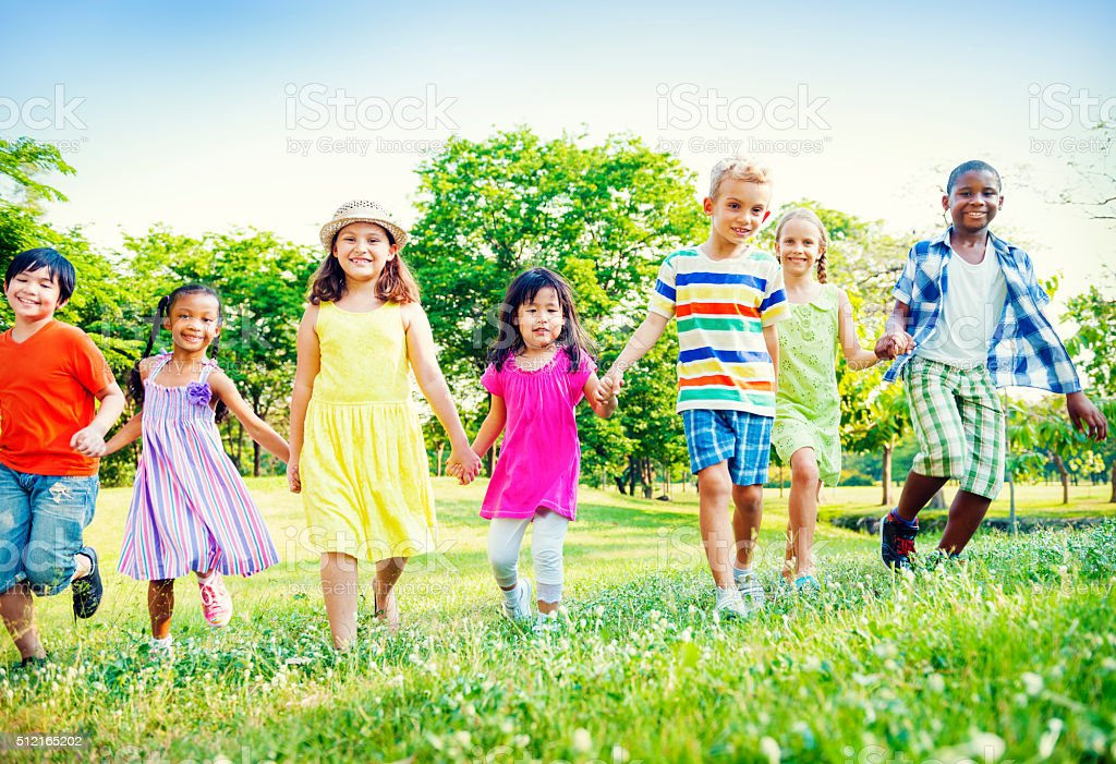 Children Kids Friendship Walking Happiness Concept stock photo