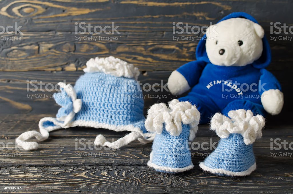 Children knitted wear stock photo