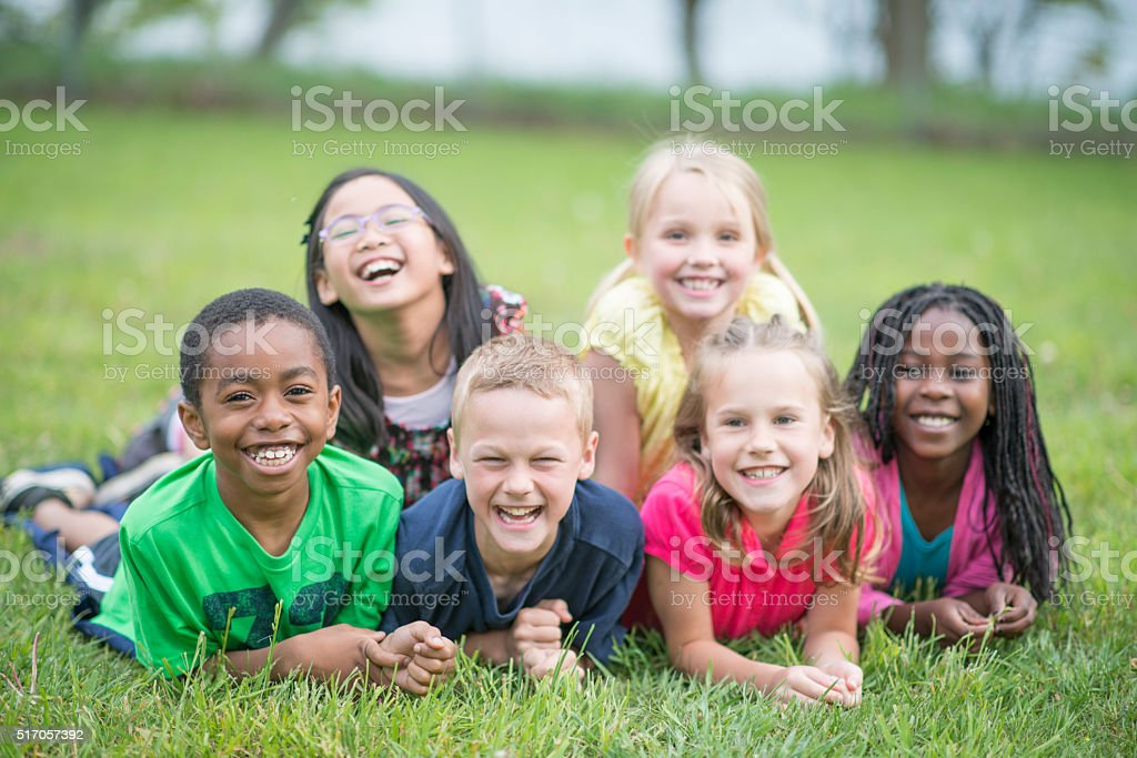 Children Laughing Together stock photo