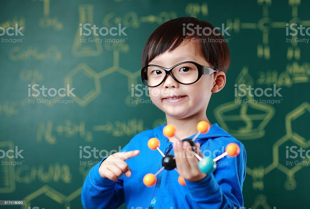 Children learn chemistry stock photo
