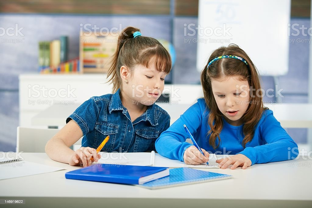 Children learning in classroom royalty-free stock photo