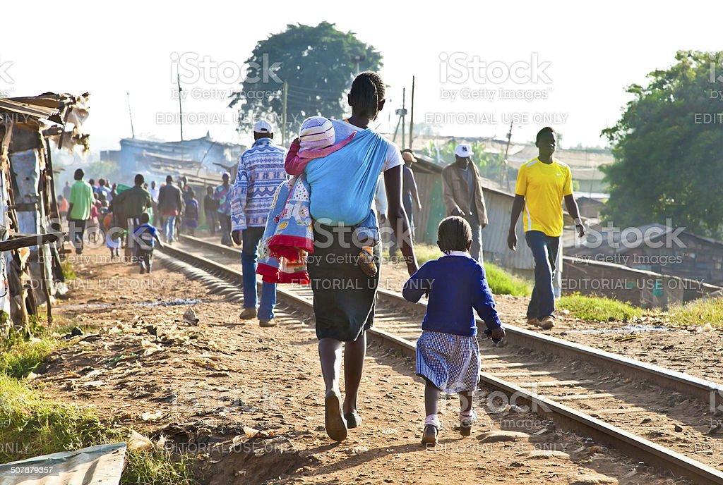 Children living in the slums of Kibera, Nairobi, Kenya. stock photo