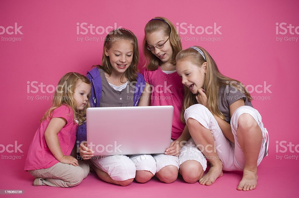 Children looking at laptop royalty-free stock photo