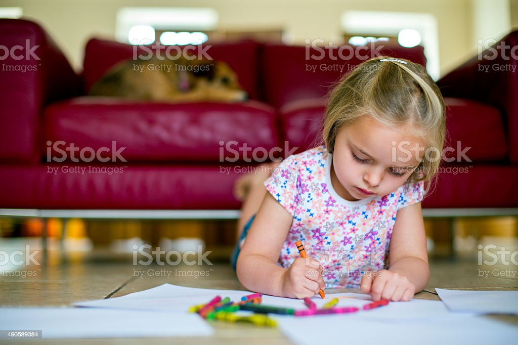 Children love to colour stock photo