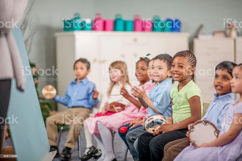 Children Making Music at School stock photo