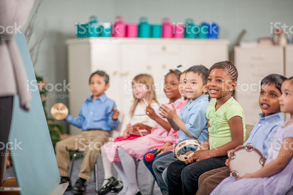 Children Making Music at School stock photo