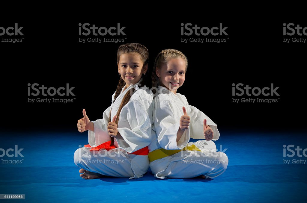 Children martial arts fighters stock photo