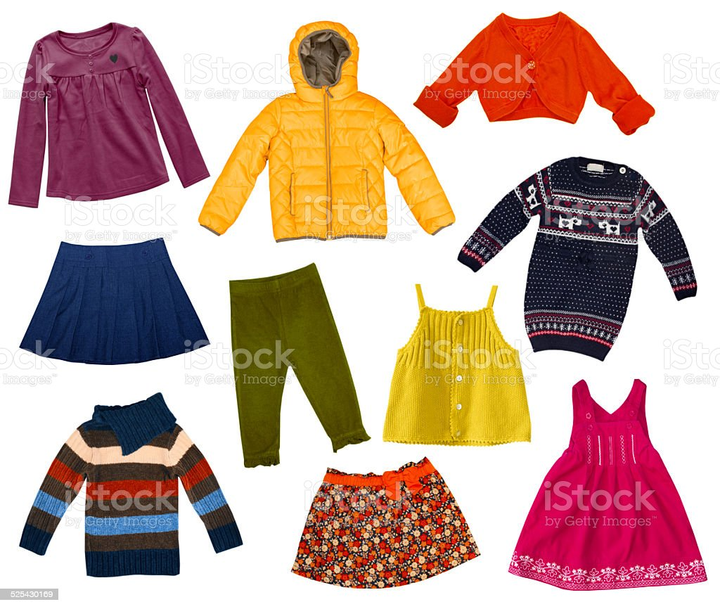 Children modern clothes collage.Isolated. stock photo