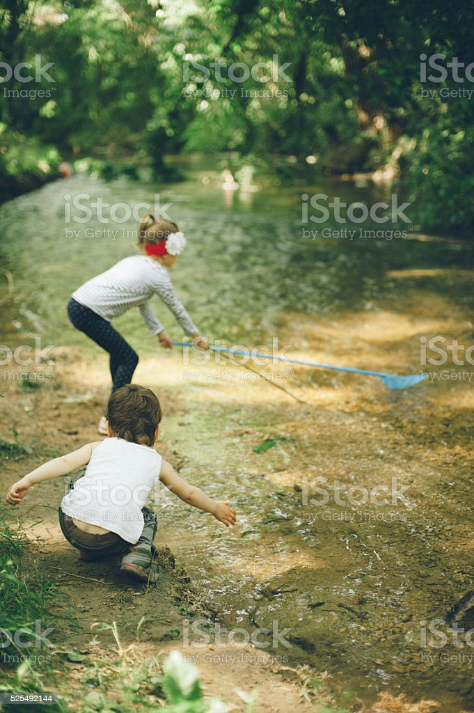 Children, nature, family, love, forest,    adventure, fishing, boy, girl stock photo